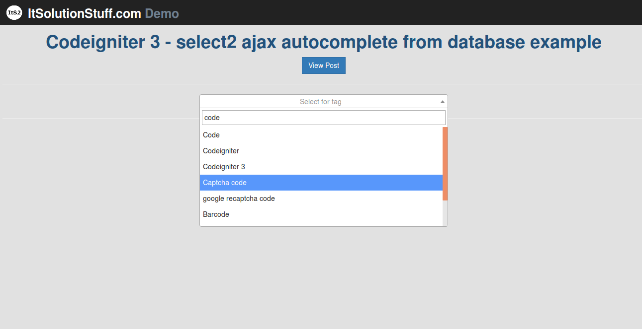 Codeigniter 3 - select2 ajax autocomplete from database example with demo