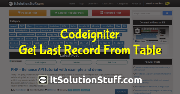 How to get last record from MySQL table in Codeigniter?