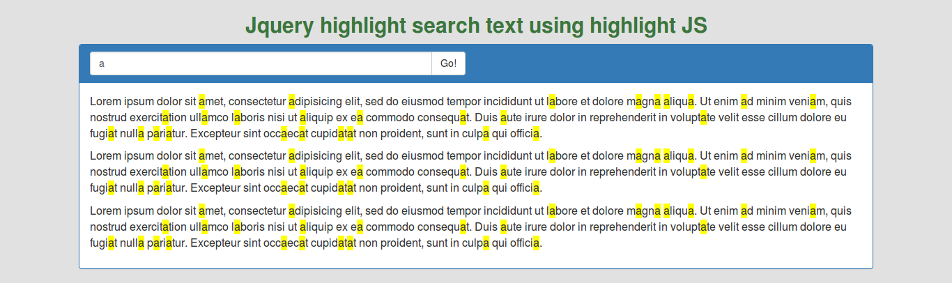 Jquery highlight search text in div using highlight JS with example