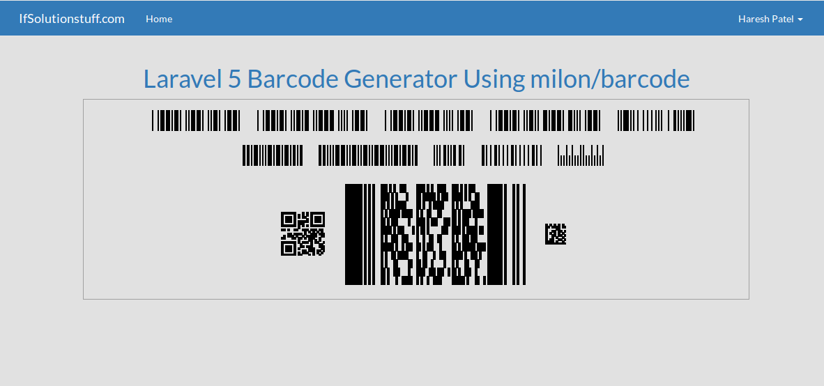Laravel 5 - Barcode generator example using milon/barcode package