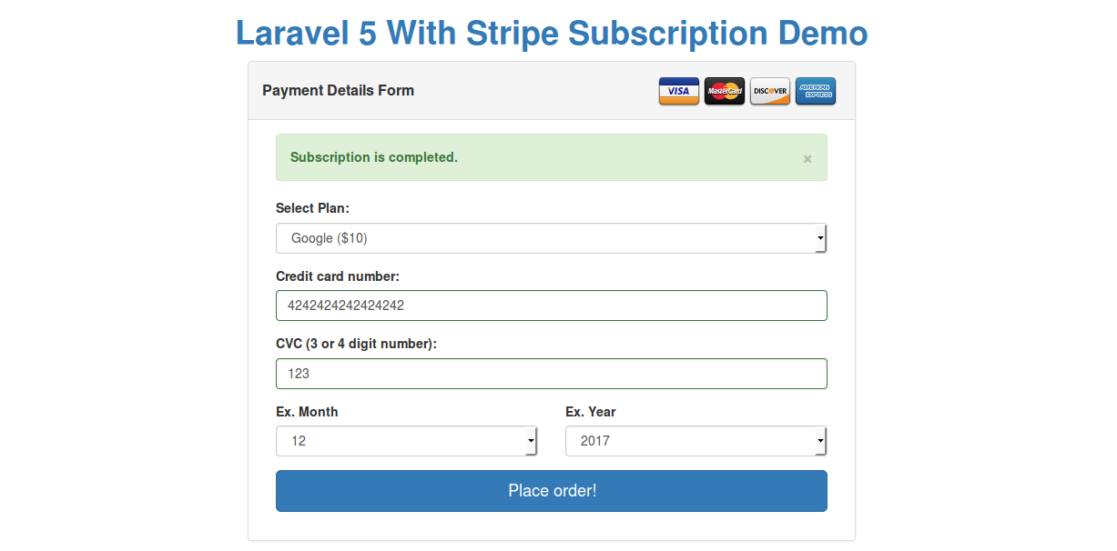 Laravel 5 Stripe example using Laravel Cashier from Scratch