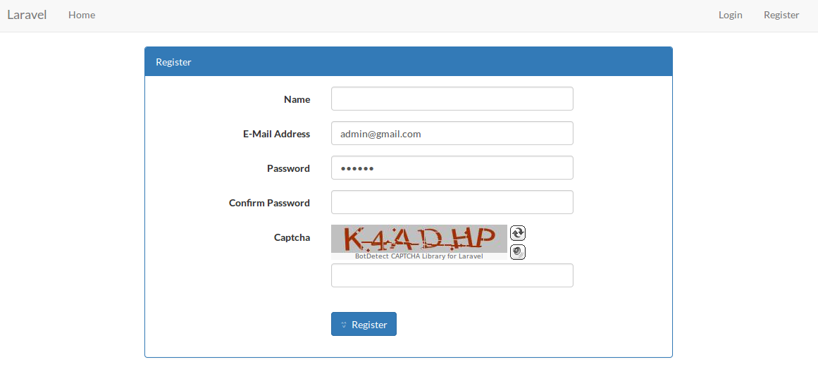 Laravel 5 - Generate Captcha code and Validation example using BotDetect package