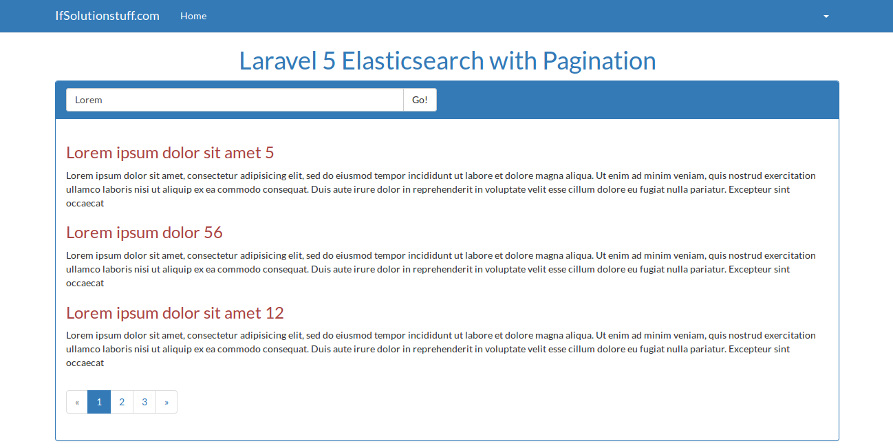 Laravel 5 - elasticsearch with pagination example