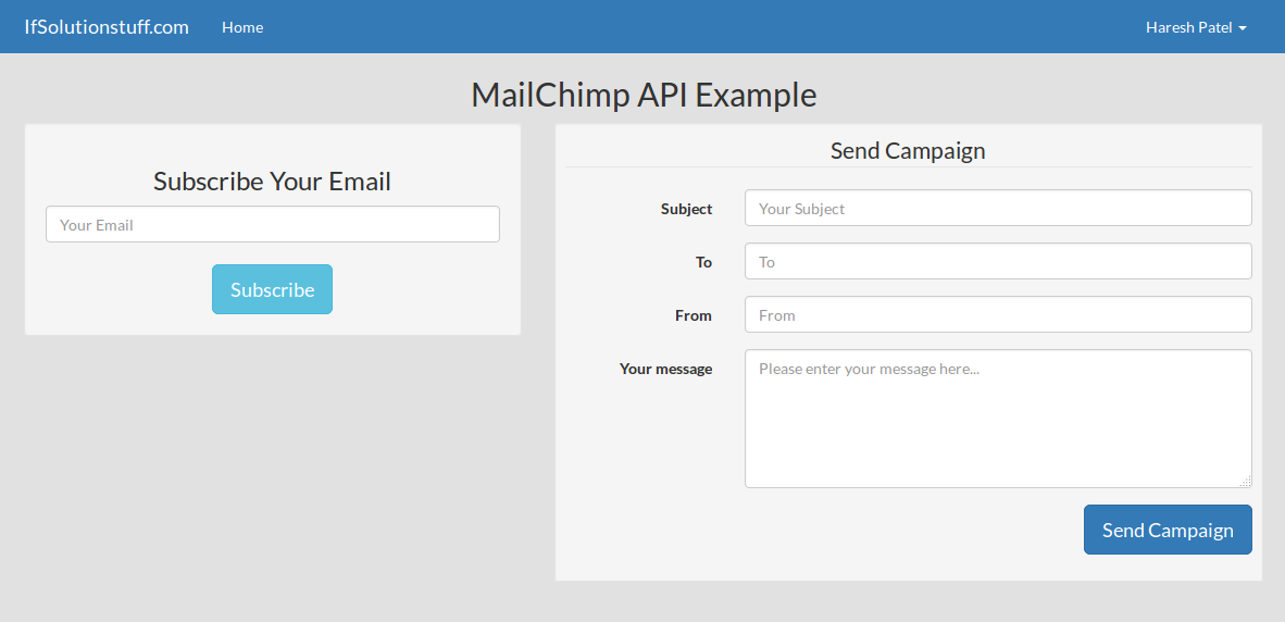 Laravel 5 mailchimp api integration from scratch with example