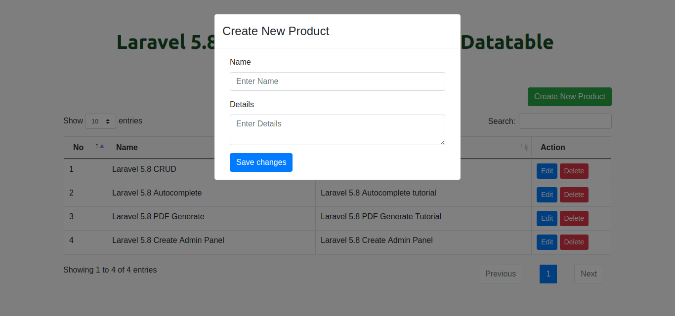 Laravel 5.8 Ajax CRUD tutorial using Datatable JS