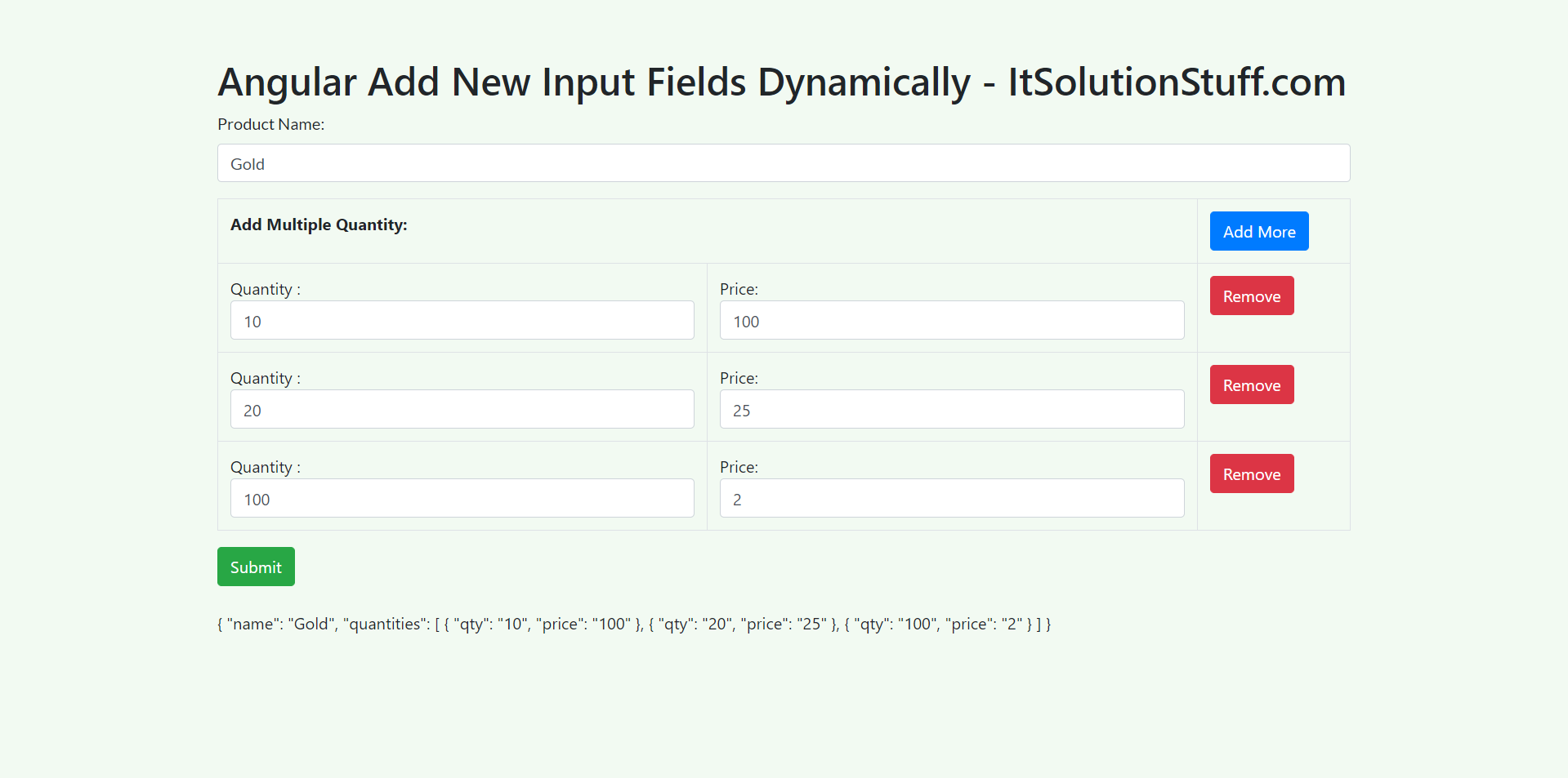 Angular 10 Dynamically Add Remove Input Fields Reactive Forms Example