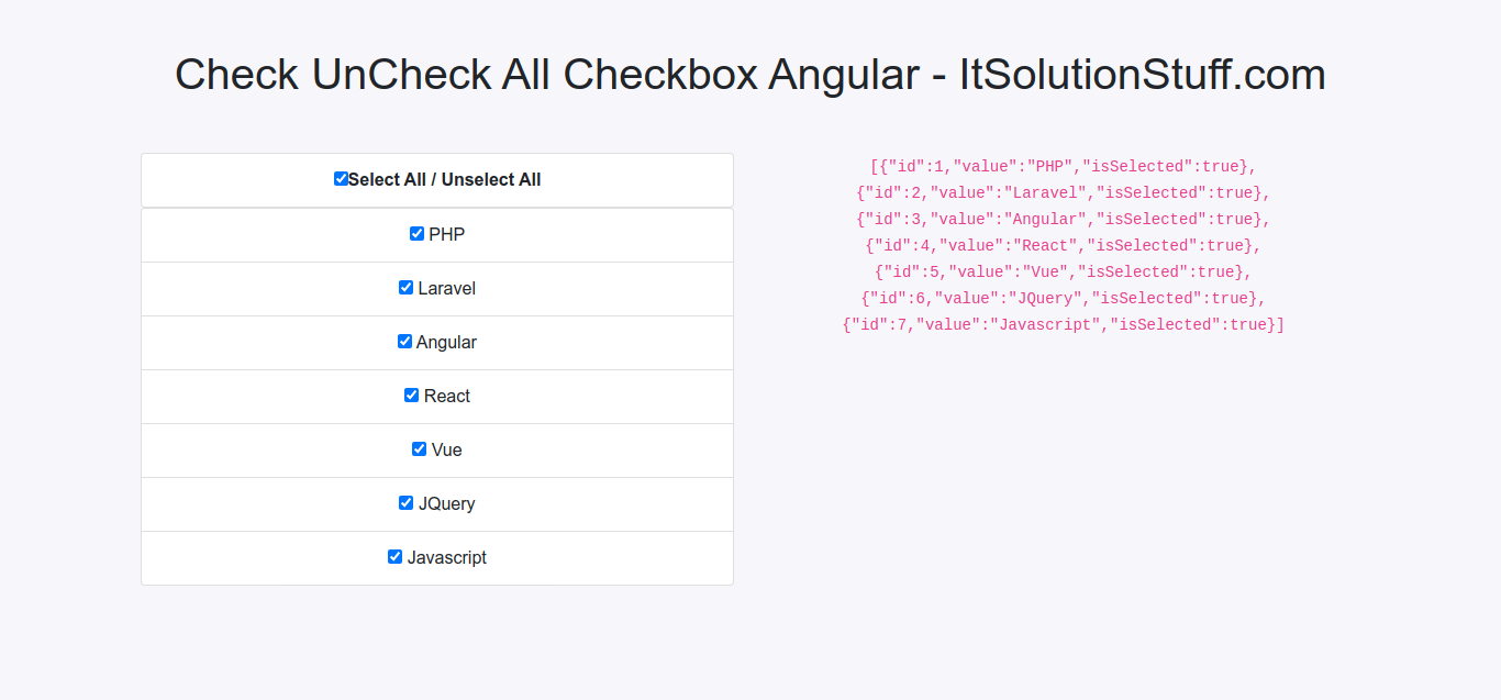 Angular 10 Check Uncheck All Checkbox Example