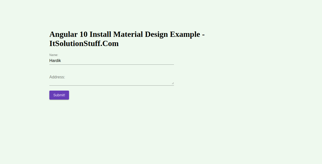 Angular 10 Install Material Design Example