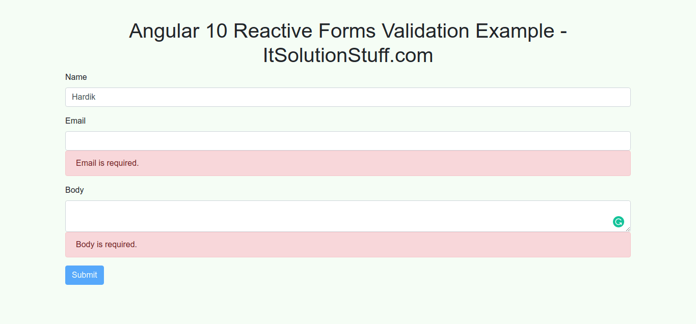 Angular 10 Reactive Forms Validation Example