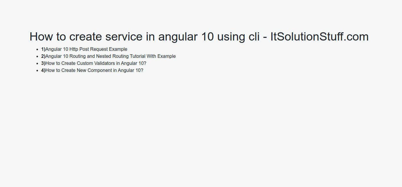 How to Create Service in Angular 10?