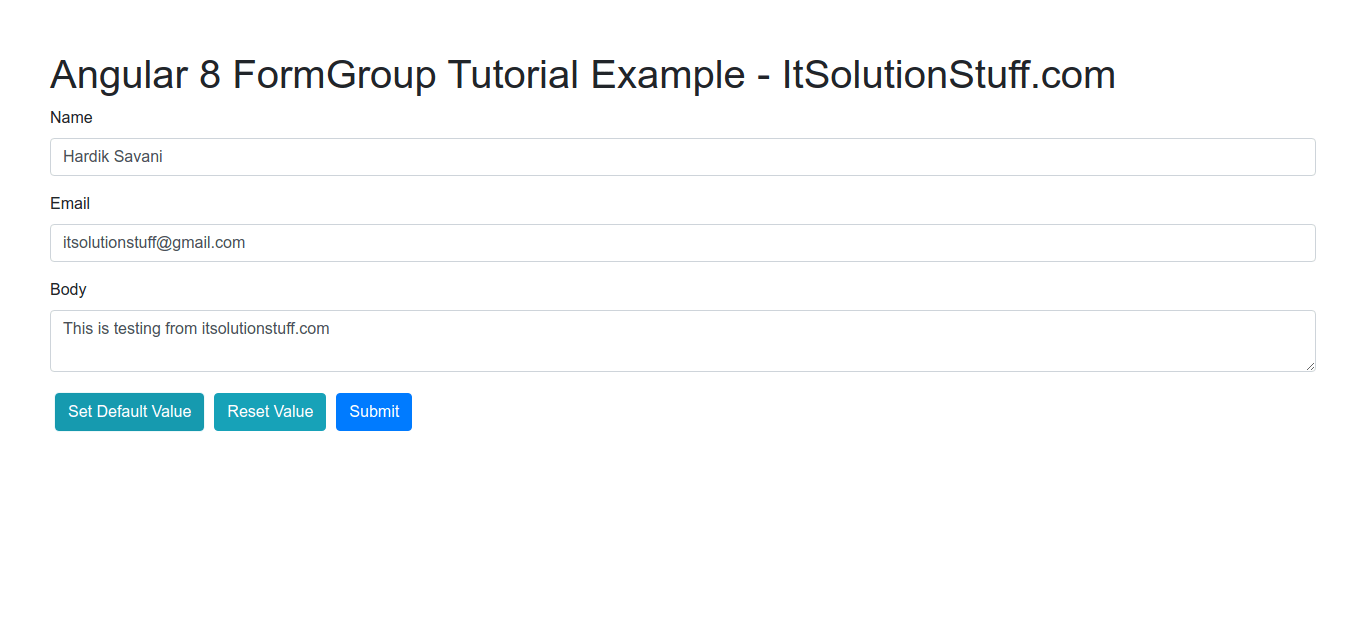 Angular FormGroup Example
