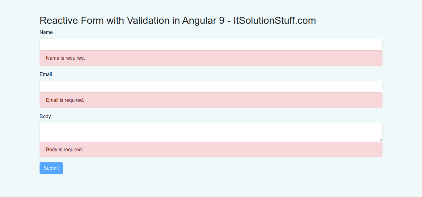 Angular 9 Reactive Form Validation Example