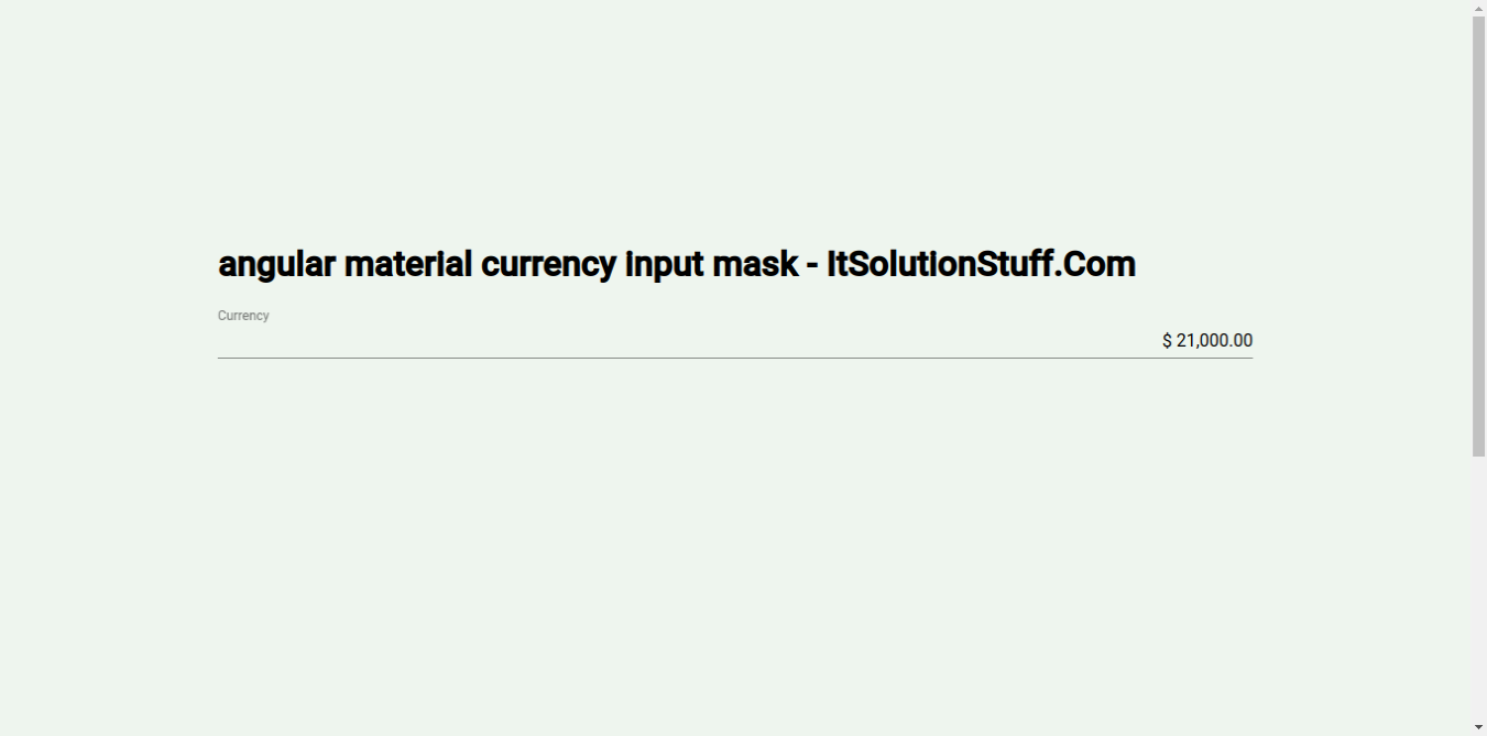Angular Material Input Currency Mask Example