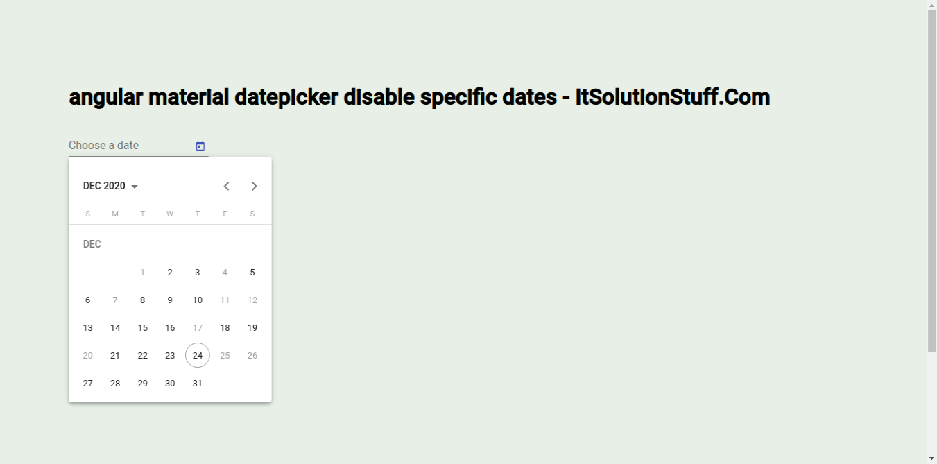 Angular Material Datepicker Disable Specific Dates Example