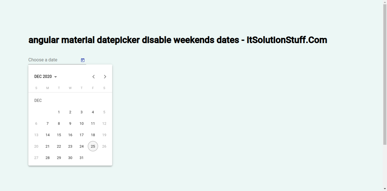 Angular Material Datepicker Disable Weekends Dates Example