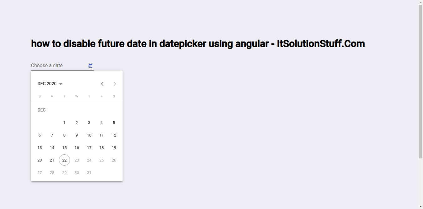 Angular Material Datepicker Disable Future Dates Example