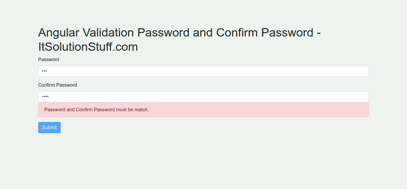 Angular Validation Password and Confirm Password