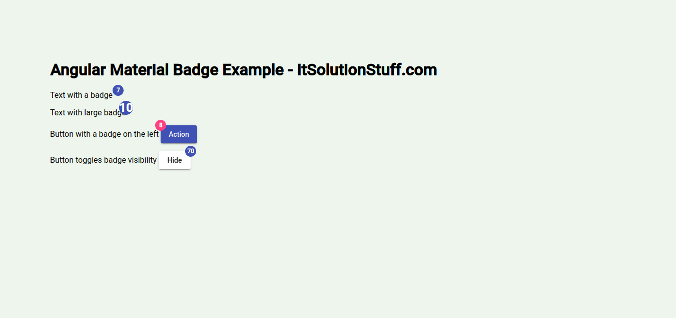 Angular Material Badge Example | Angular 9 matBadge
