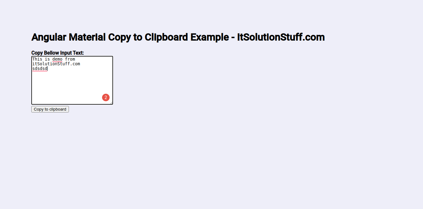 Angular Material Copy to Clipboard Example