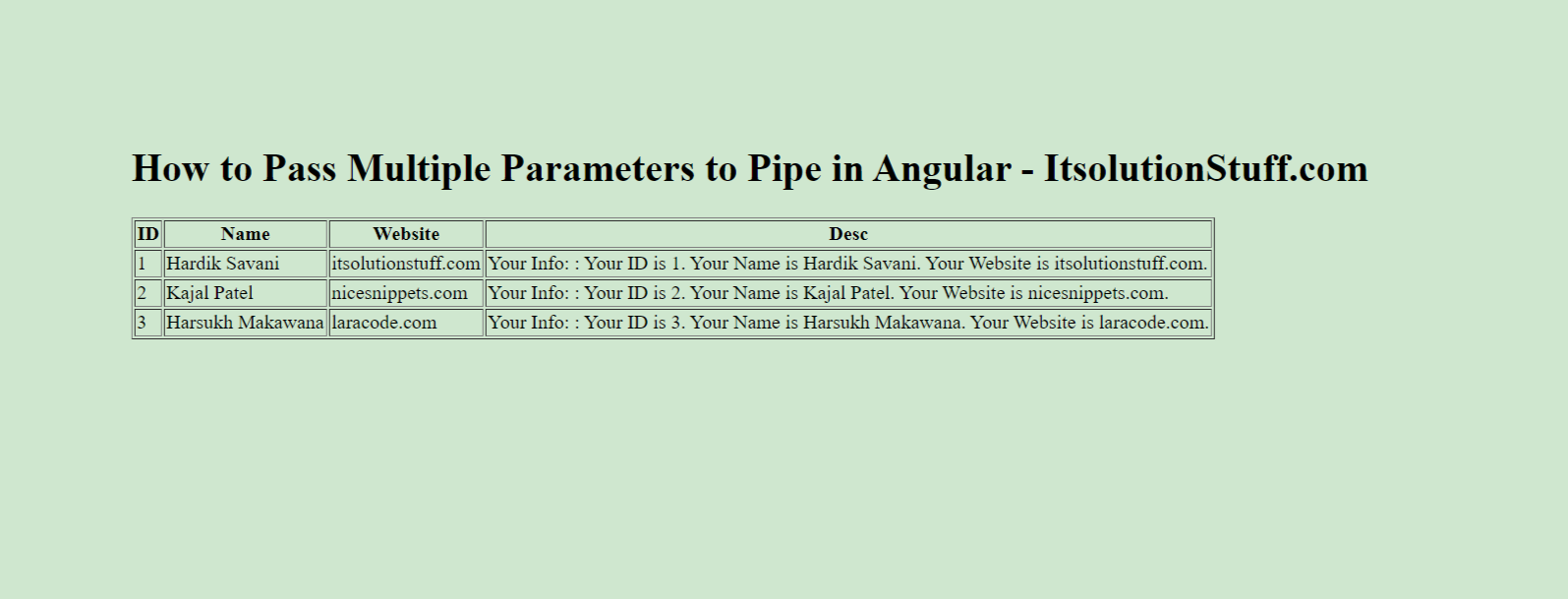 How to Pass Multiple Parameters to Pipe in Angular?