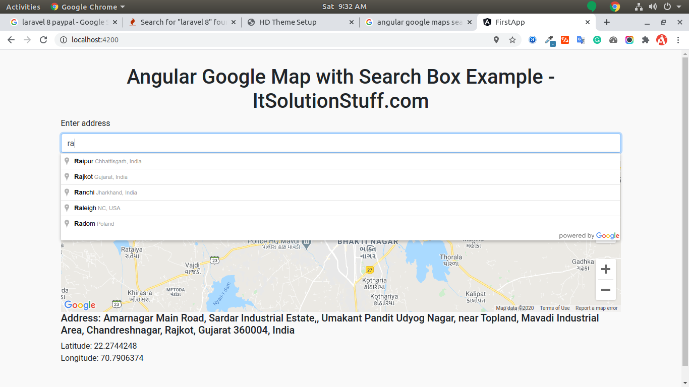 Angular Google Maps with Places Search Example