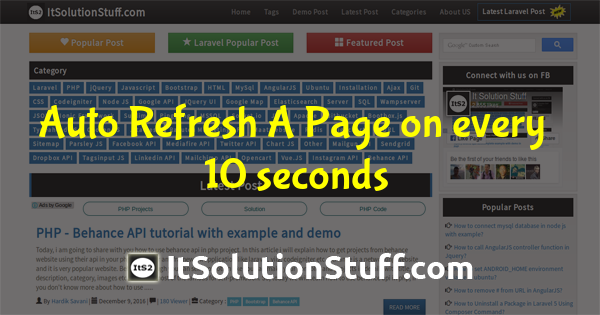 Automatically Refresh or Reload a Page using jQuery Example