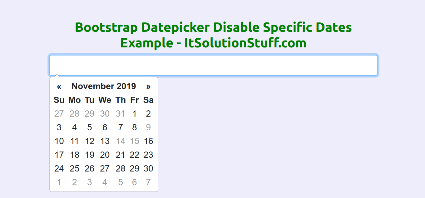 Bootstrap Datepicker Disable Specific Dates Example