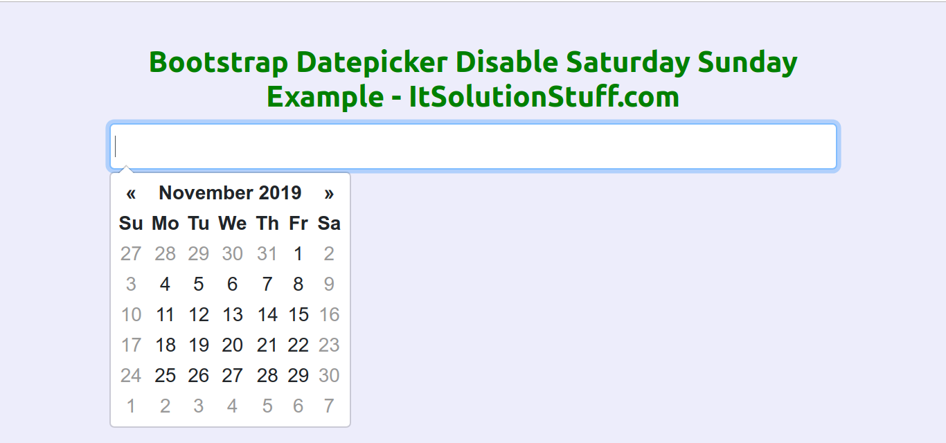 Bootstrap Datepicker Disable Saturday and Sunday Example
