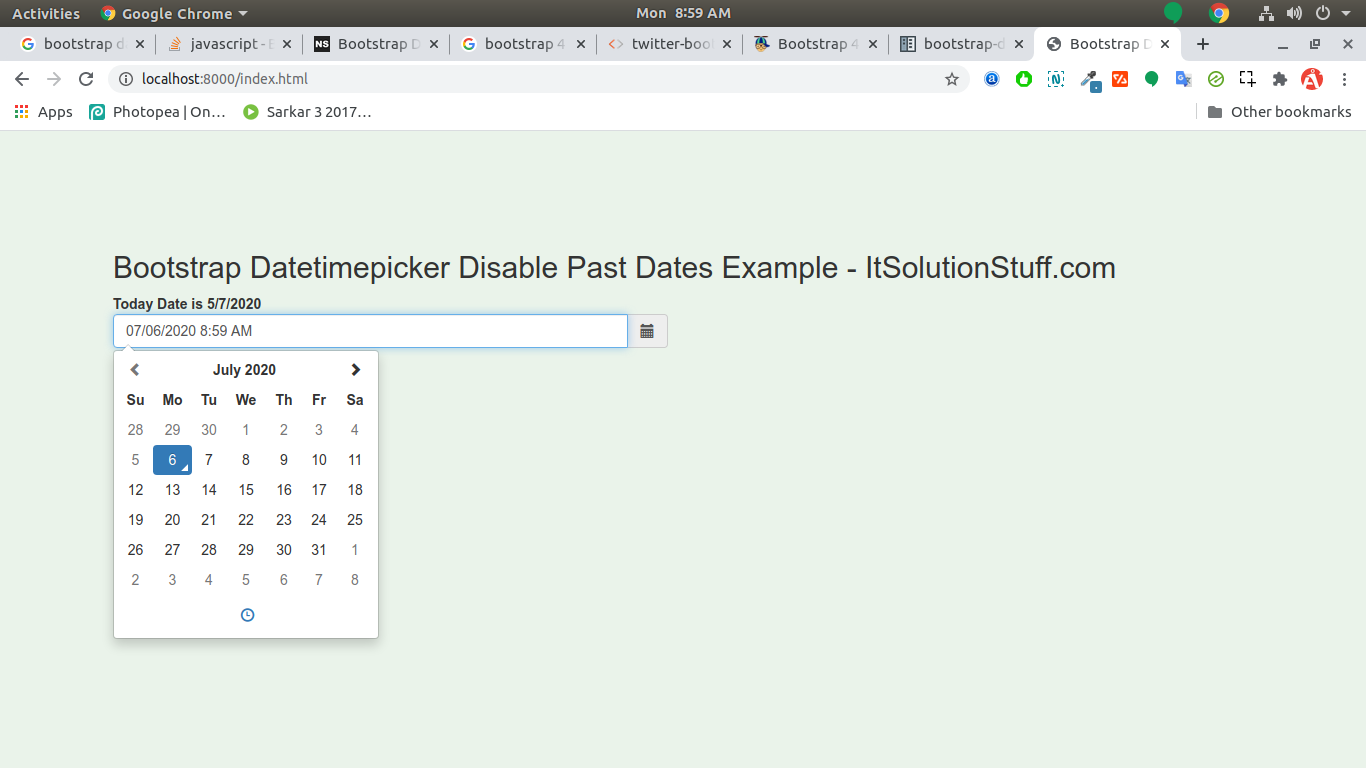 Bootstrap Datetimepicker Disable Past Dates Example