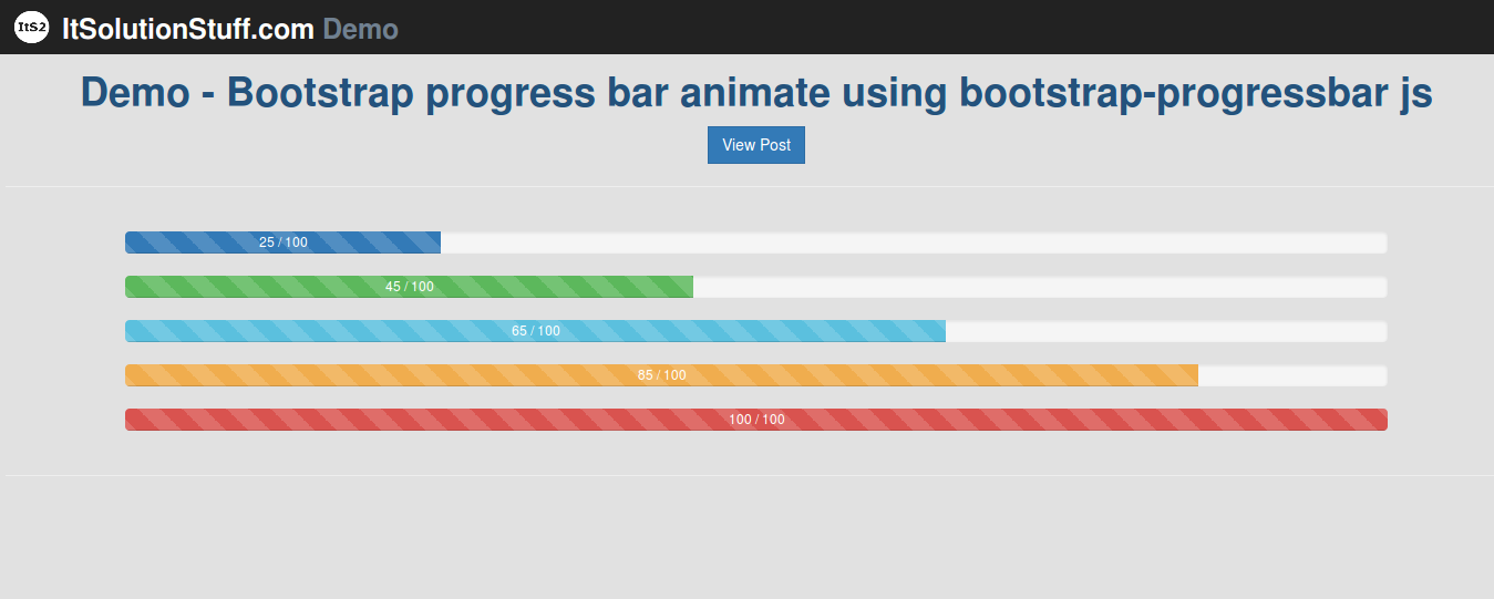 Bootstrap progress bar animate example using bootstrap-progressbar.js