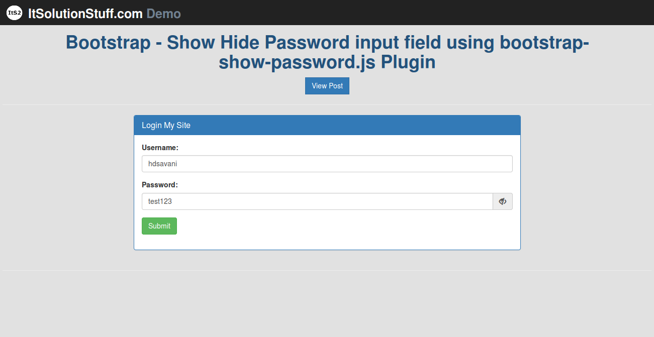 Bootstrap - Show/Hide(toggle) Password input field using bootstrap-show-password.js Plugin