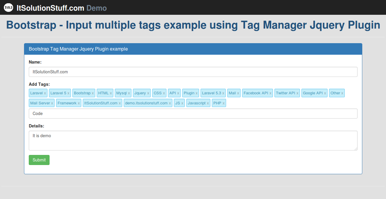 Bootstrap - Input multiple tags example using Tag Manager Jquery Plugin