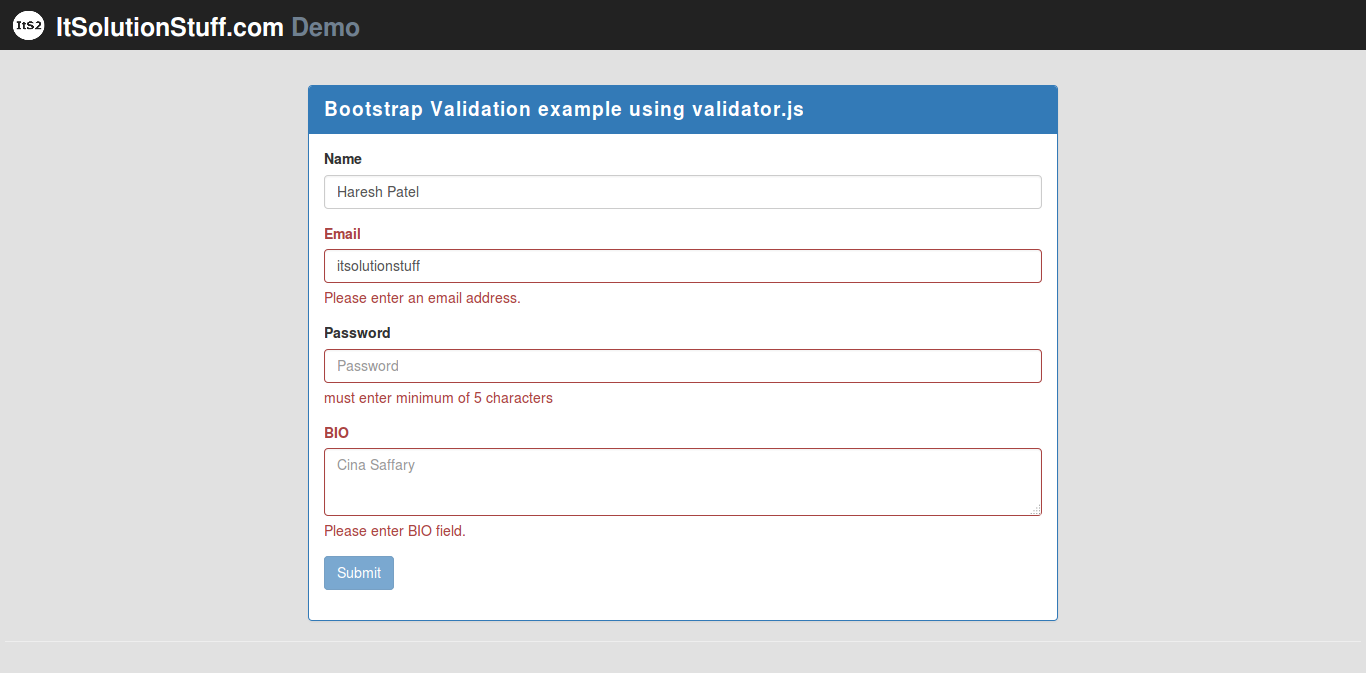 Bootstrap form validation example with demo using validator js plugin