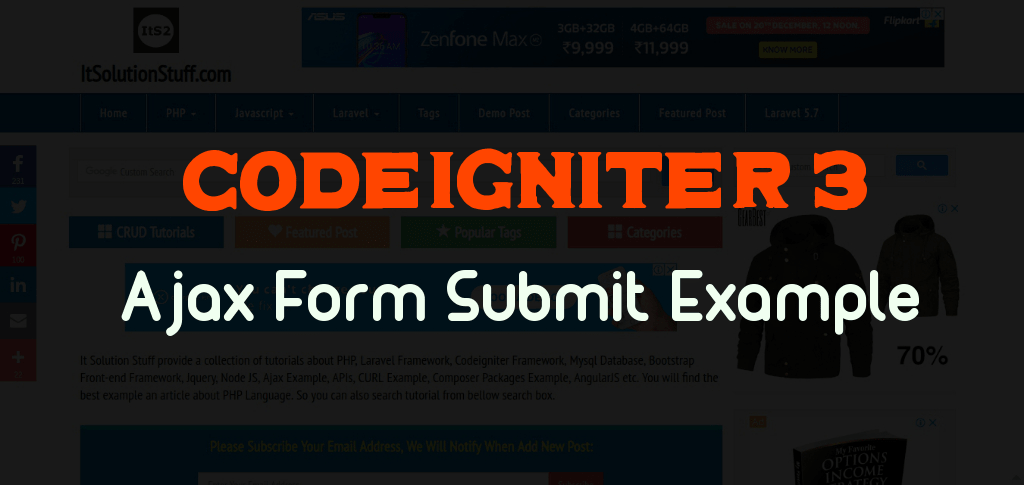 Codeigniter Ajax Form Submit Example