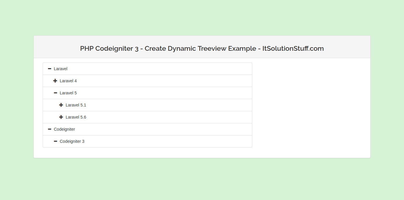 PHP Codeigniter 3 - Create Dynamic Tree View using Bootstrap Treeview JS