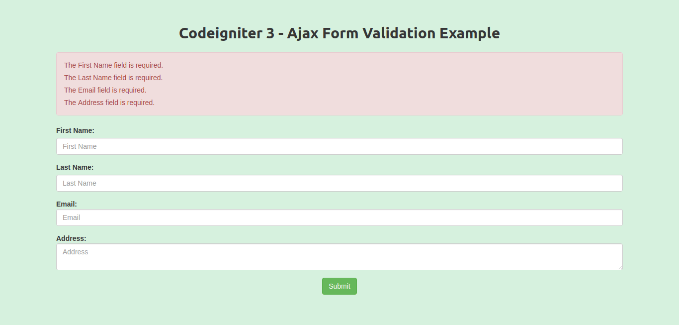 Codeigniter Ajax Form Validation Example
