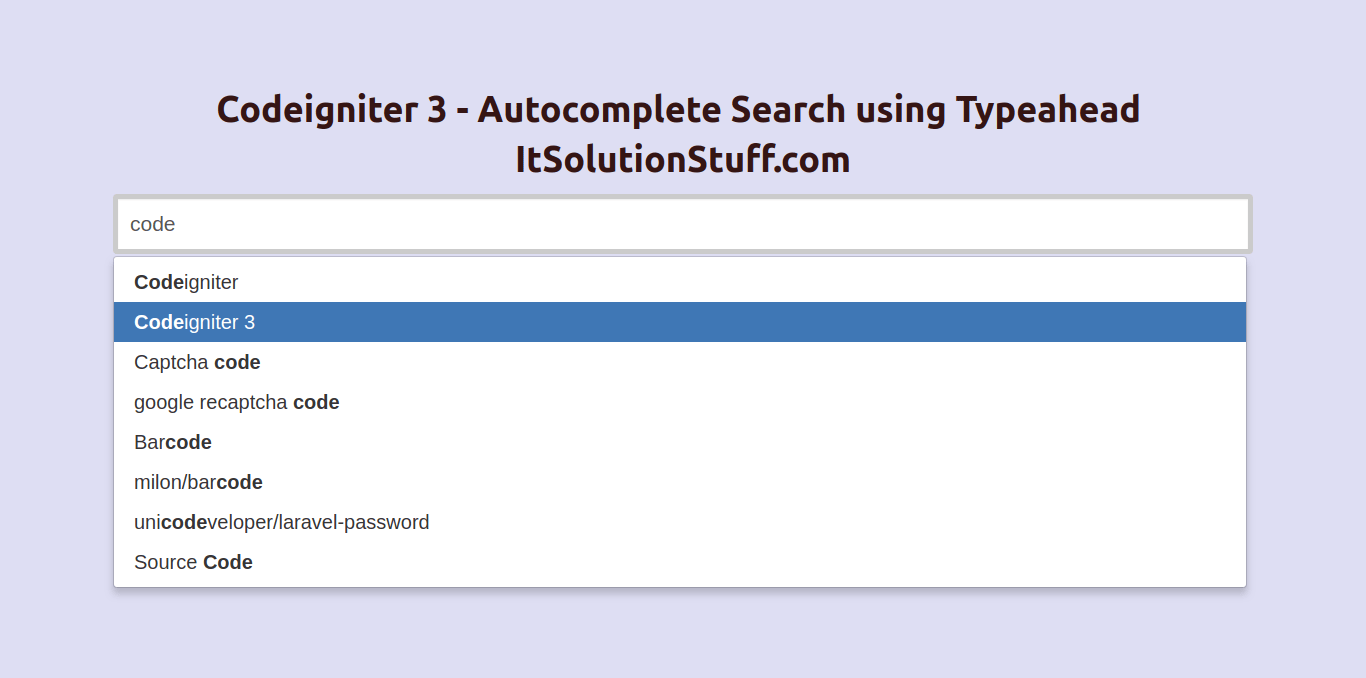 PHP Codeigniter 3 - Jquery Ajax Autocomplete Search using Typeahead