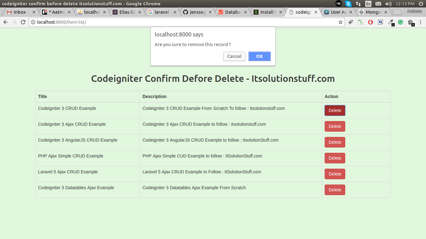 Confirm Box Before Delete Item in Codeigniter