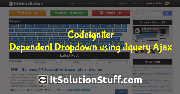 Codeigniter - Dynamic dependent dropdown using jquery ajax Example