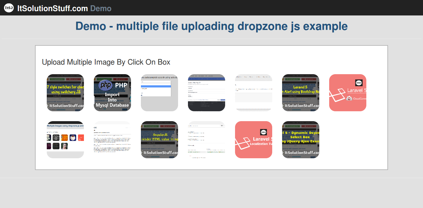 Codeigniter multiple drag and drop image upload example from