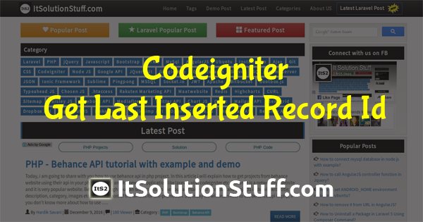 How to get last inserted id in Codeigniter?
