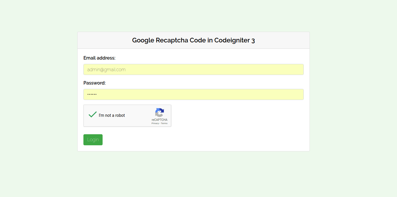 PHP Codeigniter 3 Google Recaptcha Form Validation Example