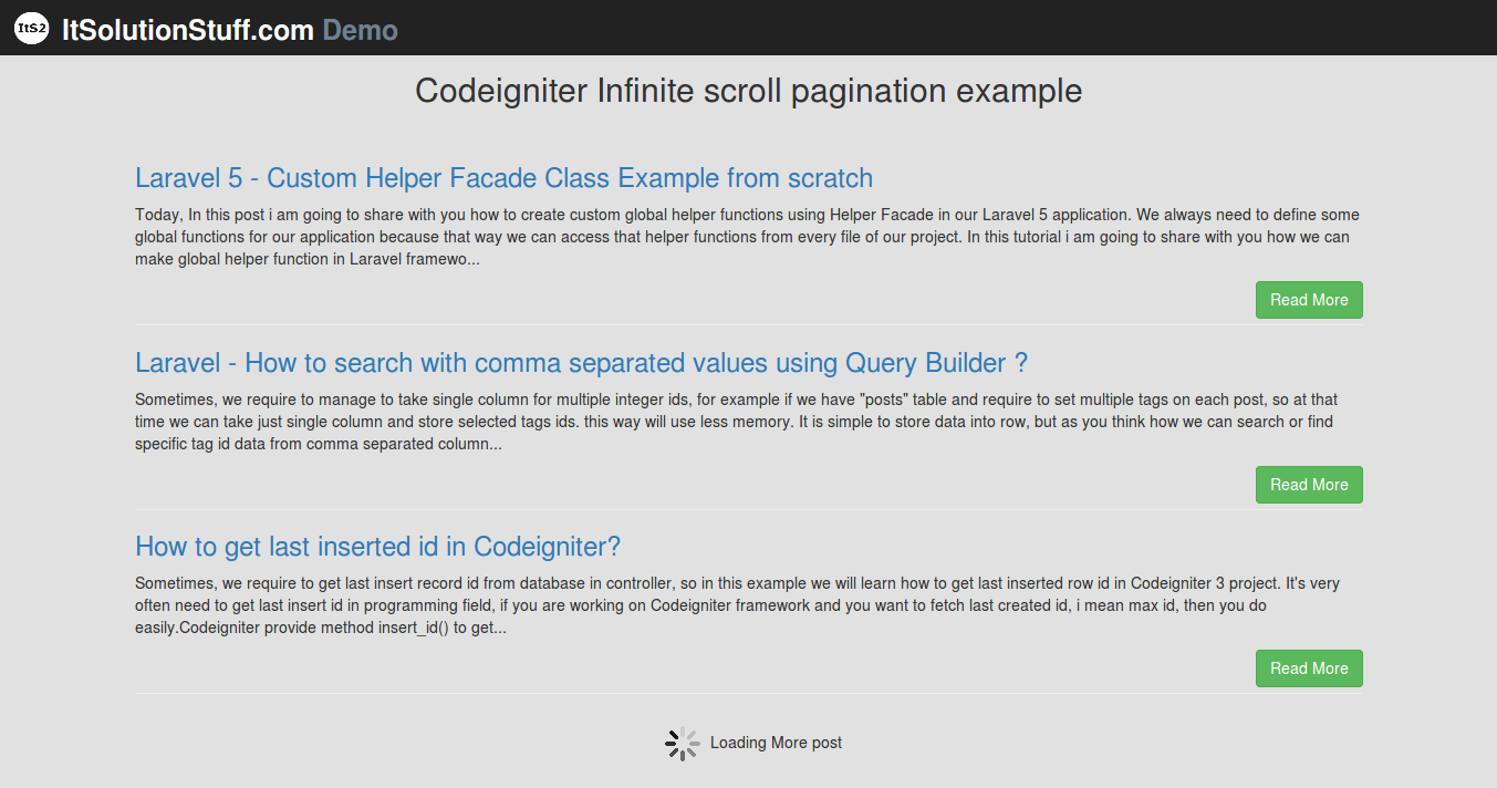 PHP Codeigniter - Ajax Infinite Scroll Pagination Example