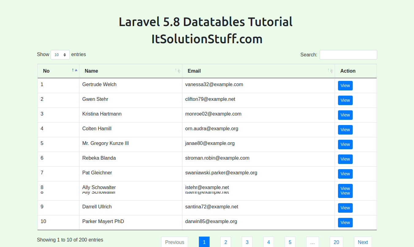 Laravel 5.8 Datatables Tutorial