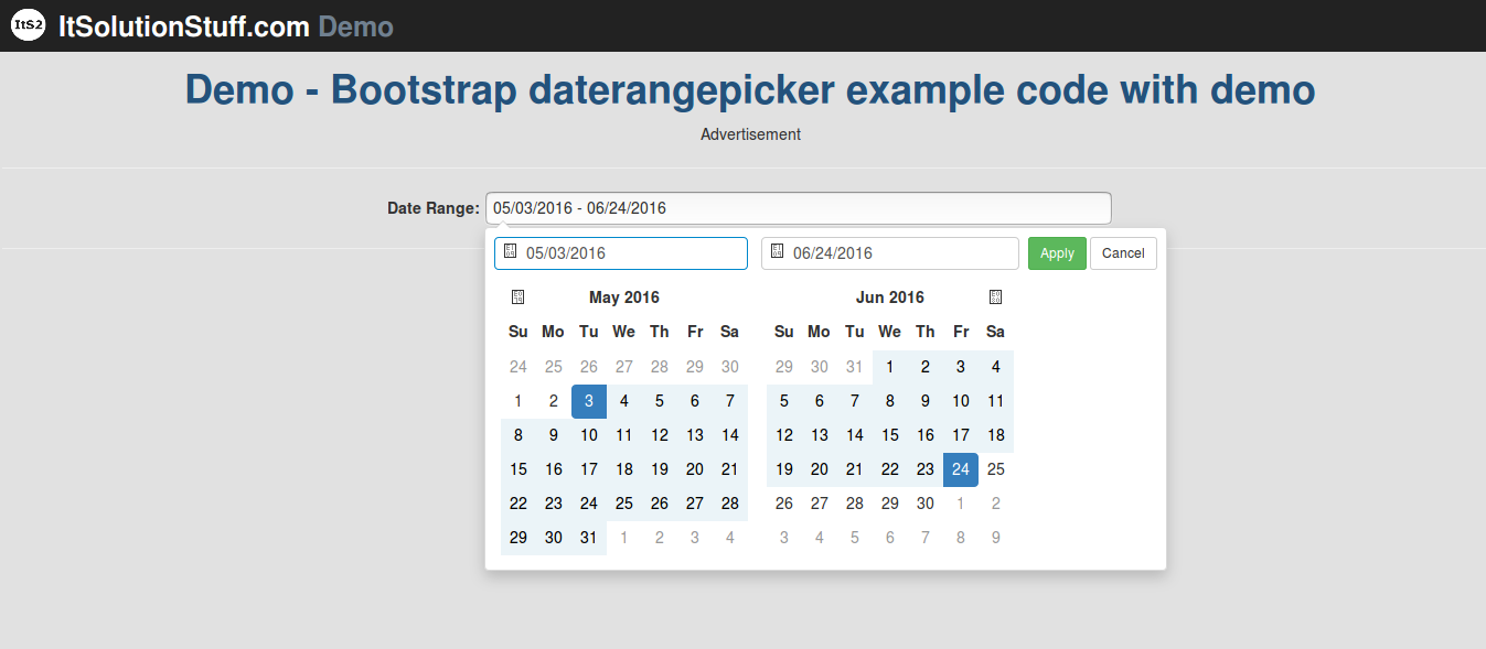 Bootstrap daterangepicker example code with demo using