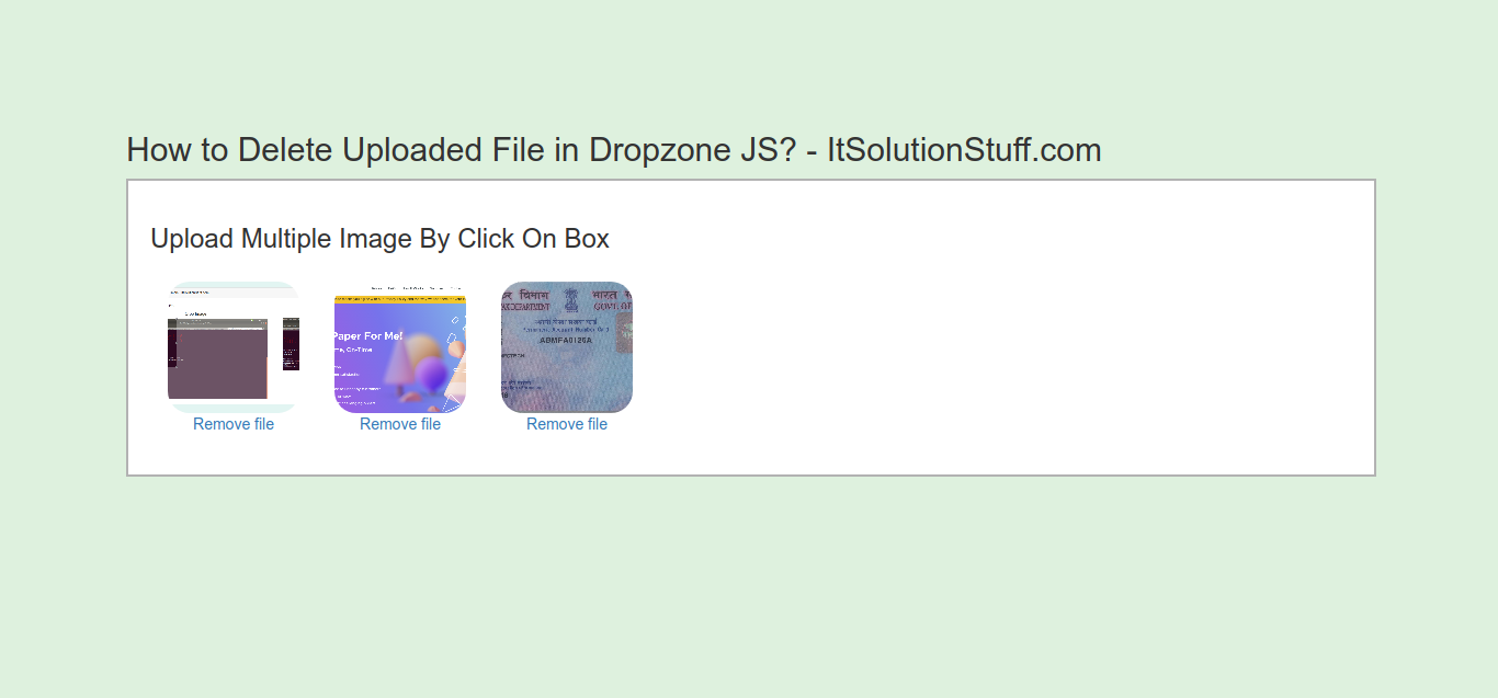 How to Delete Uploaded File in Dropzone JS?