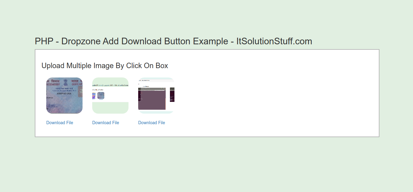 PHP - Dropzone Add Download Button Example