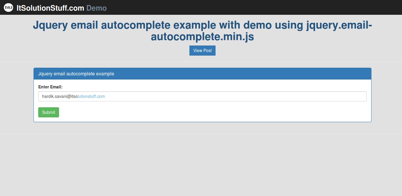 Jquery email autocomplete example with demo using jquery.email-autocomplete.min.js