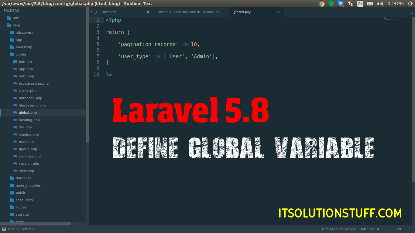 Define Global Variable in Laravel 5.8