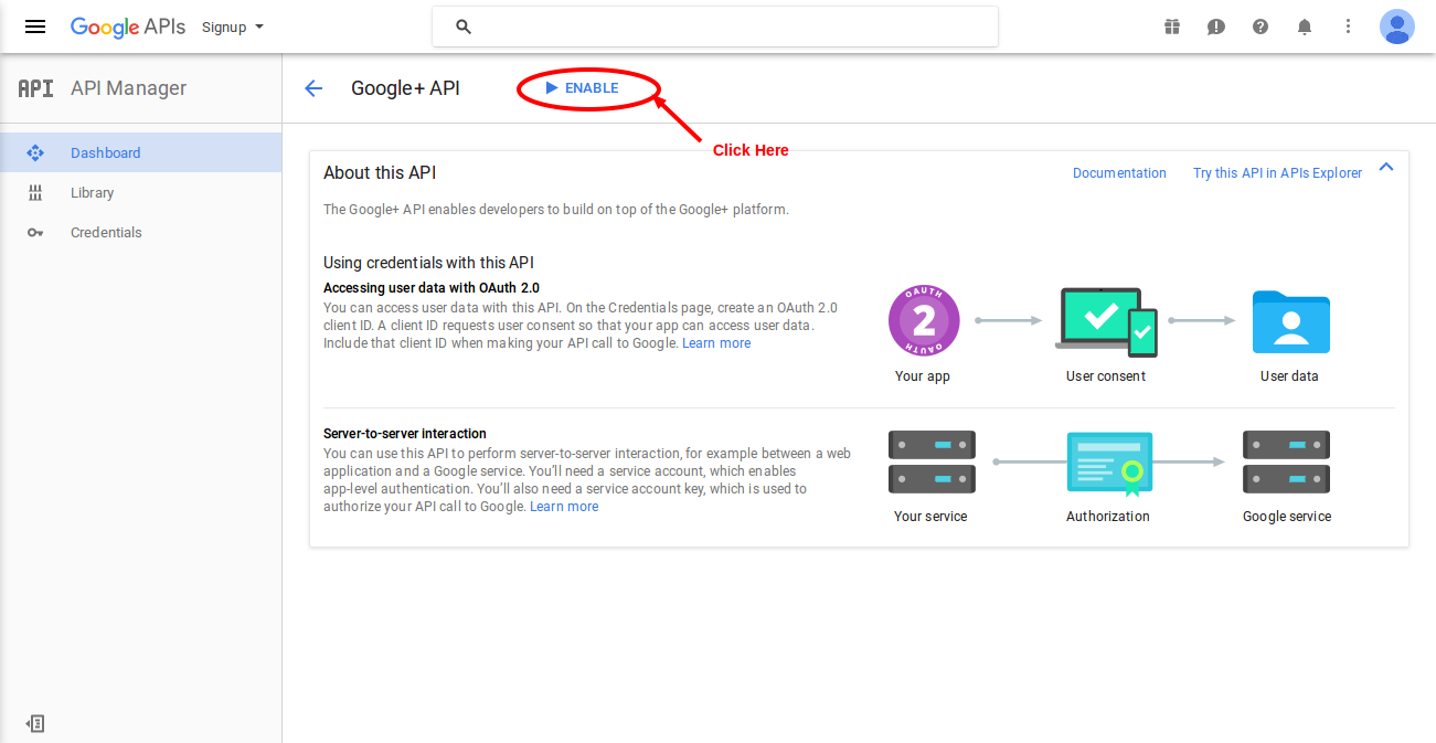 Solved - Access Not Configured  Google+ API (truncated